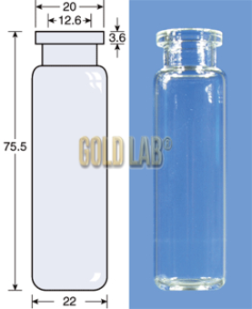 VIAL S/R N20-20 INCOLOR 23,25X75,5MM 20ML C/100PC